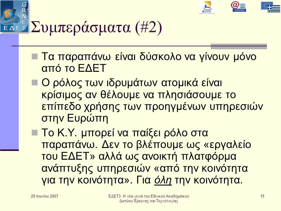 29 Ιουνίου 2007 15 Συμπεράσματα (#2)  Τα παραπάνω είναι δύσκολο να γίνουν μόνο από το ΕΔΕΤ  Ο ρόλος των ιδρυμάτων ατομικά είναι κρίσιμος αν θέλουμε να πλησιάσουμε το επίπεδο χρήσης των προηγμένων υπηρεσιών στην Ευρώπη  Το Κ.Υ.