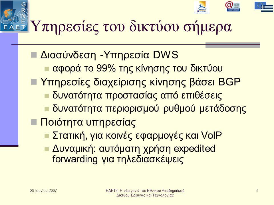 29 Ιουνίου 2007 3 Υπηρεσίες του δικτύου σήμερα  Διασύνδεση -Υπηρεσία DWS  αφορά το 99% της κίνησης του δικτύου  Υπηρεσίες διαχείρισης κίνησης βάσει BGP  δυνατότητα προστασίας από επιθέσεις  δυνατότητα περιορισμού ρυθμού μετάδοσης  Ποιότητα υπηρεσίας  Στατική, για κοινές εφαρμογές και VoIP  Δυναμική: αυτόματη χρήση expedited forwarding για τηλεδιασκέψεις ΕΔΕΤ3: Η νέα γενιά του Εθνικού Ακαδημαϊκού Δικτύου Έρευνας και Τεχνολογίας