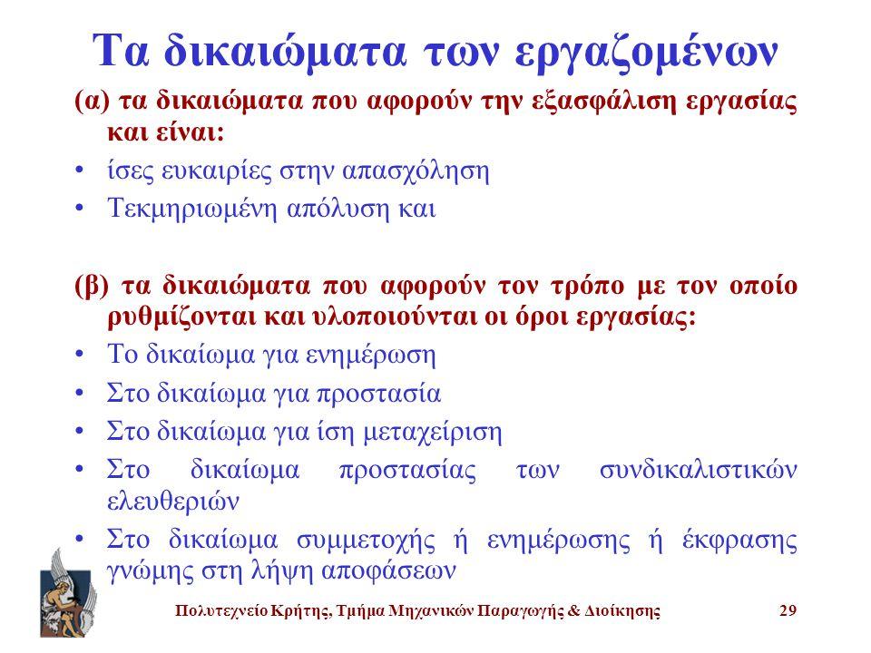 Πολυτεχνείο Κρήτης, Τμήμα Μηχανικών Παραγωγής & Διοίκησης29 Τα δικαιώματα των εργαζομένων (α) τα δικαιώματα που αφορούν την εξασφάλιση εργασίας και εί