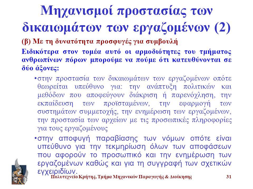 Πολυτεχνείο Κρήτης, Τμήμα Μηχανικών Παραγωγής & Διοίκησης31 Μηχανισμοί προστασίας των δικαιωμάτων των εργαζομένων (2) (β) Με τη δυνατότητα προσφυγές γ
