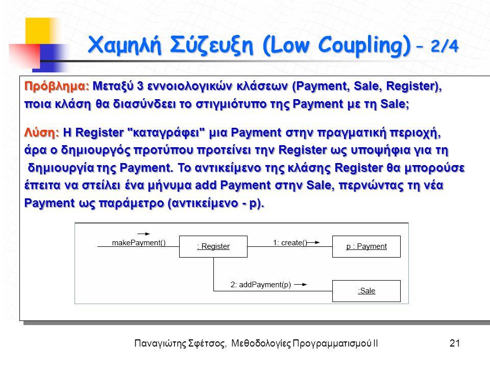 Παναγιώτης Σφέτσος, Μεθοδολογίες Προγραμματισμού ΙΙ21 Στόχοι Πρόβλημα: Μεταξύ 3 εννοιολογικών κλάσεων (Payment, Sale, Register), ποια κλάση θα διασύνδ