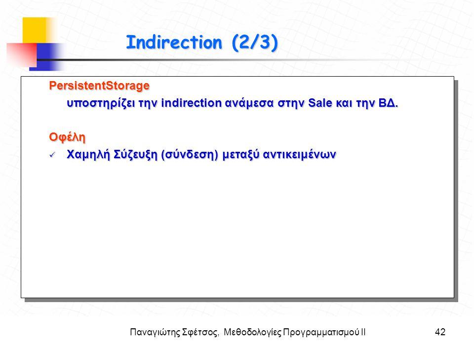 Παναγιώτης Σφέτσος, Μεθοδολογίες Προγραμματισμού ΙΙ42 Στόχοι Indirection (2/3) PersistentStorage υποστηρίζει την indirection ανάμεσα στην Sale και την