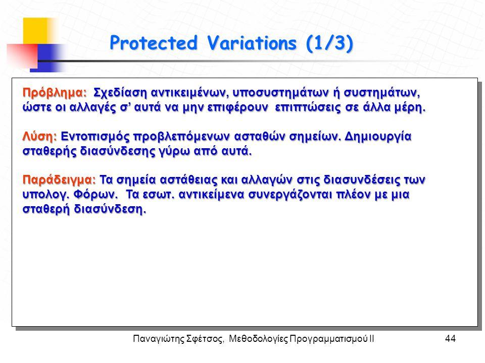Παναγιώτης Σφέτσος, Μεθοδολογίες Προγραμματισμού ΙΙ44 Στόχοι Protected Variations (1/3) Πρόβλημα: Σχεδίαση αντικειμένων, υποσυστημάτων ή συστημάτων, ώ