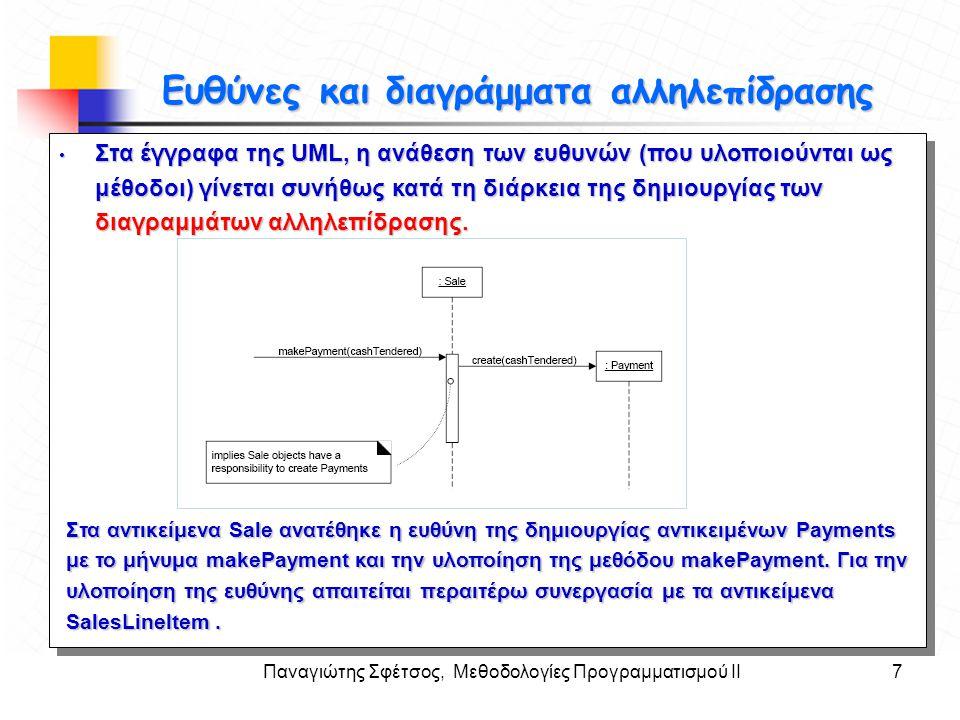 Παναγιώτης Σφέτσος, Μεθοδολογίες Προγραμματισμού ΙΙ7 Στόχοι Ευθύνες και διαγράμματα αλληλεπίδρασης • Στα έγγραφα της UML, η ανάθεση των ευθυνών (που υ