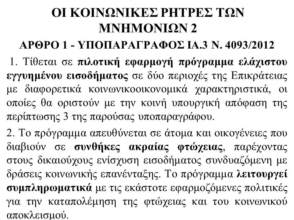 ΟΙ ΚΟΙΝΩΝΙΚΕΣ ΡΗΤΡΕΣ ΤΩΝ ΜΝΗΜΟΝΙΩΝ 2 ΑΡΘΡΟ 1 - ΥΠΟΠΑΡΑΓΡΑΦΟΣ ΙΑ.3 Ν. 4093/2012 1. Τίθεται σε πιλοτική εφαρμογή πρόγραμμα ελάχιστου εγγυημένου εισοδήμα