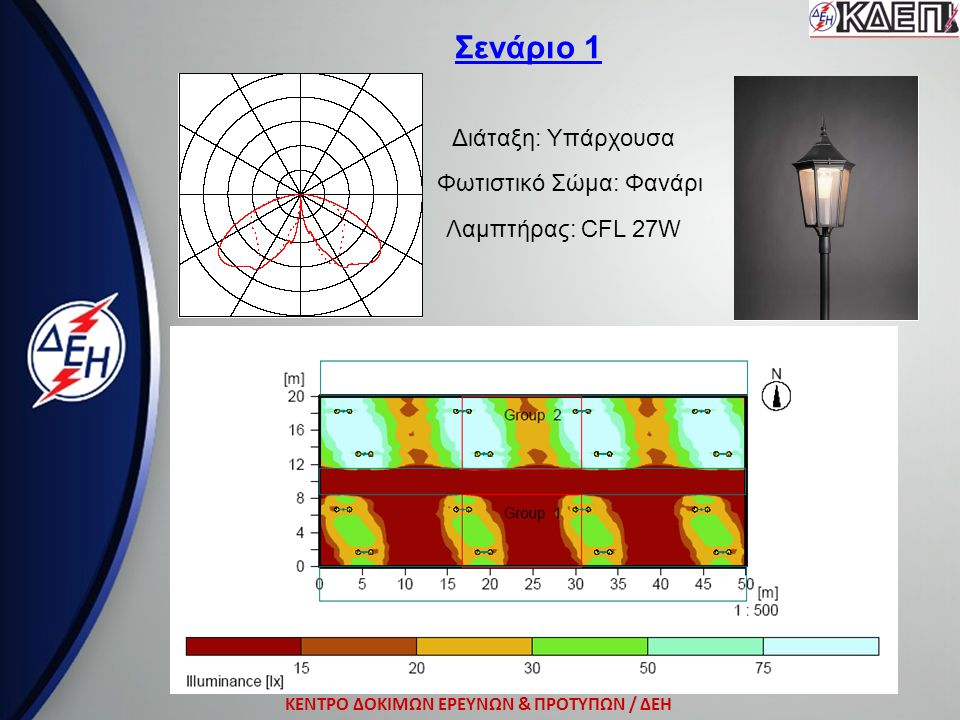 ΚΕΝΤΡΟ ΔΟΚΙΜΩΝ ΕΡΕΥΝΩΝ & ΠΡΟΤΥΠΩΝ / ΔΕΗ Σενάριο 1 Διάταξη: Υπάρχουσα Φωτιστικό Σώμα: Φανάρι Λαμπτήρας: CFL 27W
