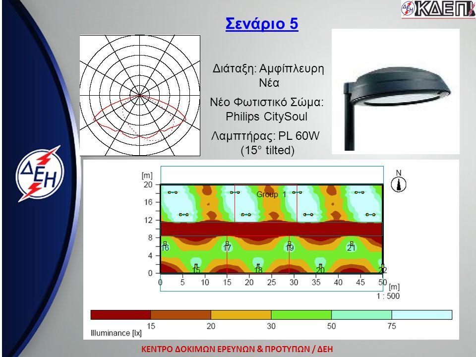 ΚΕΝΤΡΟ ΔΟΚΙΜΩΝ ΕΡΕΥΝΩΝ & ΠΡΟΤΥΠΩΝ / ΔΕΗ Σενάριο 5 Διάταξη: Αμφίπλευρη Νέα Νέο Φωτιστικό Σώμα: Philips CitySoul Λαμπτήρας: ΡL 60W (15° tilted)