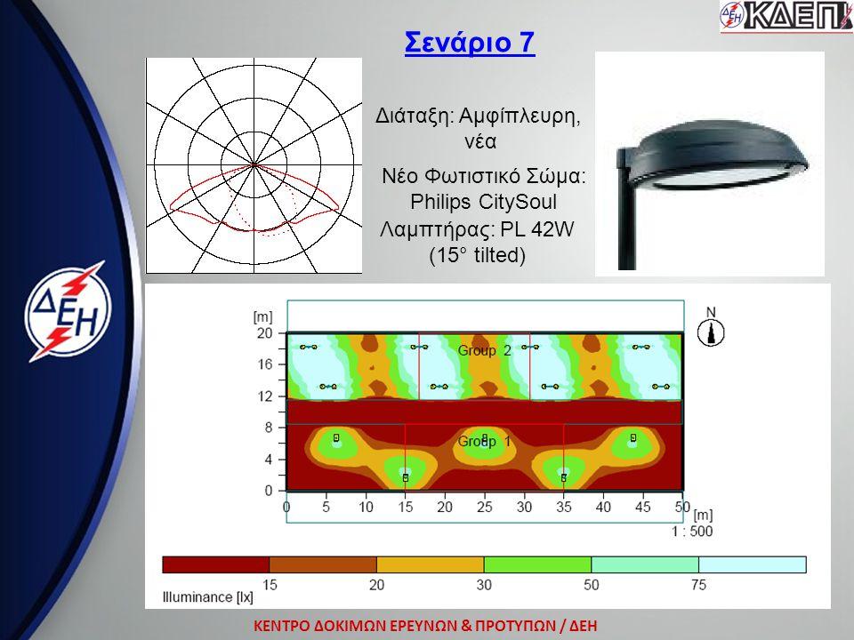 ΚΕΝΤΡΟ ΔΟΚΙΜΩΝ ΕΡΕΥΝΩΝ & ΠΡΟΤΥΠΩΝ / ΔΕΗ Σενάριο 7 Διάταξη: Αμφίπλευρη, νέα Νέο Φωτιστικό Σώμα: Philips CitySoul Λαμπτήρας: ΡL 42W (15° tilted)