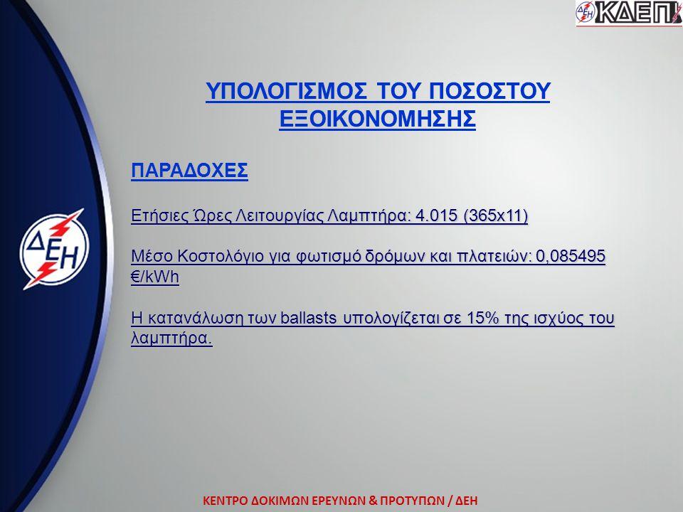 ΚΕΝΤΡΟ ΔΟΚΙΜΩΝ ΕΡΕΥΝΩΝ & ΠΡΟΤΥΠΩΝ / ΔΕΗ ΥΠΟΛΟΓΙΣΜΟΣ ΤΟΥ ΠΟΣΟΣΤΟΥ ΕΞΟΙΚΟΝΟΜΗΣΗΣ ΠΑΡΑΔΟΧΕΣ Ετήσιες Ώρες Λειτουργίας Λαμπτήρα: 4.015 (365x11) Μέσο Κοστολ