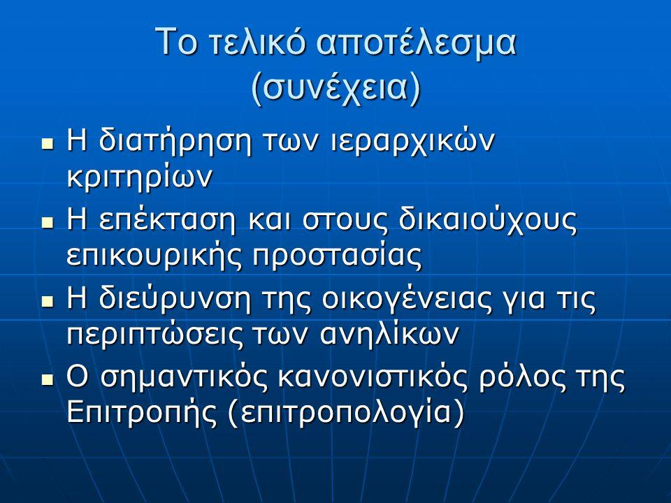Το τελικό αποτέλεσμα (συνέχεια)  Η διατήρηση των ιεραρχικών κριτηρίων  Η επέκταση και στους δικαιούχους επικουρικής προστασίας  Η διεύρυνση της οικογένειας για τις περιπτώσεις των ανηλίκων  Ο σημαντικός κανονιστικός ρόλος της Επιτροπής (επιτροπολογία)