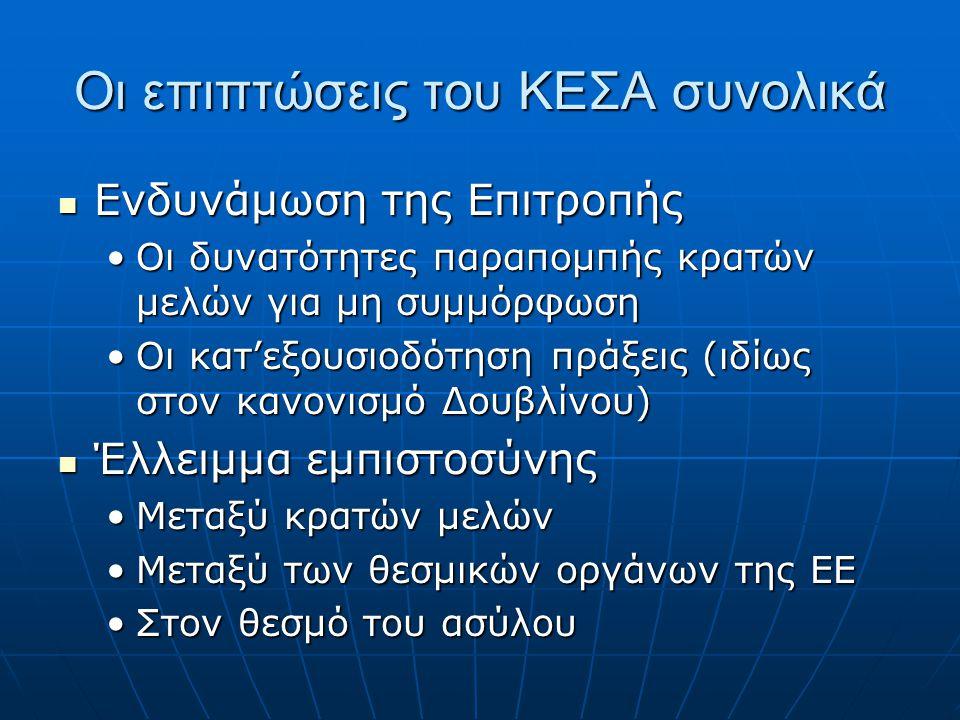 Οι επιπτώσεις του ΚΕΣΑ συνολικά  Ενδυνάμωση της Επιτροπής •Οι δυνατότητες παραπομπής κρατών μελών για μη συμμόρφωση •Οι κατ'εξουσιοδότηση πράξεις (ιδίως στον κανονισμό Δουβλίνου)  Έλλειμμα εμπιστοσύνης •Μεταξύ κρατών μελών •Μεταξύ των θεσμικών οργάνων της ΕΕ •Στον θεσμό του ασύλου