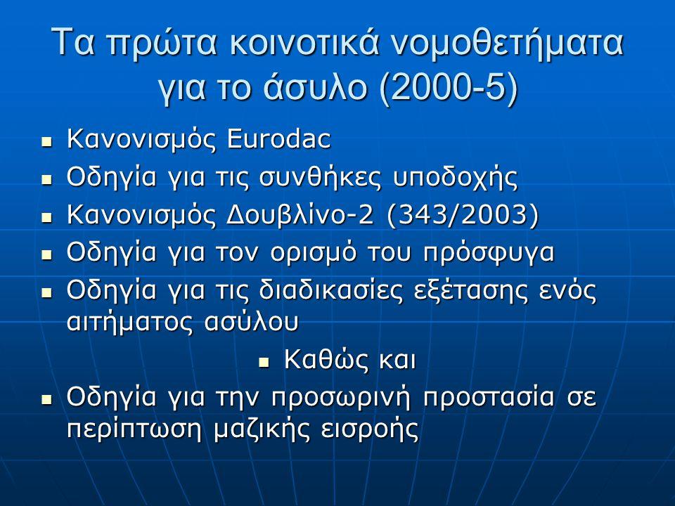 Τα πρώτα κοινοτικά νομοθετήματα για το άσυλο (2000-5)  Κανονισμός Eurodac  Οδηγία για τις συνθήκες υποδοχής  Κανονισμός Δουβλίνο-2 (343/2003)  Οδη