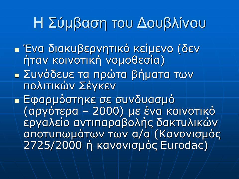 Οι επιπτώσεις για την Ελλάδα  Οι νομοθετικές αλλαγές  Συνέντευξη Δουβλίνου  Δωρεάν νομική συνδρομή  Προσφυγή κατά της απόφασης μεταφοράς  Ο ρόλος του μηχανισμού έγκαιρης προειδοποίησης;  Η αναστολή μεταφορών για παραβίαση του Χάρτη Θεμελιωδών Δικαιωμάτων