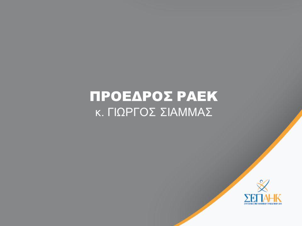 ΠΡΟΕΔΡΟΣ ΡΑΕΚ κ. ΓΙΩΡΓΟΣ ΣΙΑΜΜΑΣ