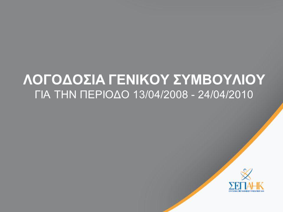ΛΟΓΟΔΟΣΙΑ ΓΕΝΙΚΟΥ ΣΥΜΒΟΥΛΙΟΥ ΛΟΓΟΔΟΣΙΑ ΓΕΝΙΚΟΥ ΣΥΜΒΟΥΛΙΟΥ ΓΙΑ ΤΗΝ ΠΕΡΙΟΔΟ 13/04/2008 - 24/04/2010 •Συλλογική Σύμβαση •Επαφές με Διοικητικό Συμβούλιο και Διεύθυνση •Ad Hoc Επιτροπή για την Επιχειρησιακή Βελτίωση της ΑΗΚ •Φυσικό Αέριο •Άμεσες παρεμβάσεις •Εργατικές Διαφορές •Μελέτη για εξορθολογισμό της Δομής του Οργανισμού •Οργανική Διάρθρωση της ΑΗΚ •Πλήρωση θέσης Γενικού Διευθυντή •Συνεργασία με ΠΟΑΣ •Λειτουργία των οργάνων της Συντεχνίας •Επιτροπές ΣΕΠΑΗΚ •Επισκέψεις στους τόπους εργασίας •Επικοινωνία •Καταστατικό •Επιμορφωτικός Τομέας •Εκδόσεις •Παγκύπρια Συνδιάσκεψη •Συνεργασία ΣΕΠΑΗΚ με Ταμείο Ευημερίας Επιστημονικού Προσωπικού •Άλλες δραστηριότητες