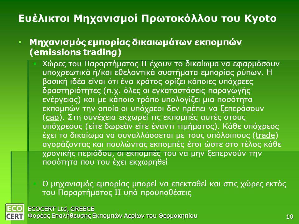 ECOCERT Ltd, GREECE Φορέας Επαλήθευσης Εκπομπών Αερίων του Θερμοκηπίου 10 Ευέλικτοι Μηχανισμοί Πρωτοκόλλου του Kyoto   Μηχανισμός εμπορίας δικαιωμάτων εκπομπών (emissions trading)   Χώρες του Παραρτήματος ΙΙ έχουν το δικαίωμα να εφαρμόσουν υποχρεωτικά ή/και εθελοντικά συστήματα εμπορίας ρύπων.