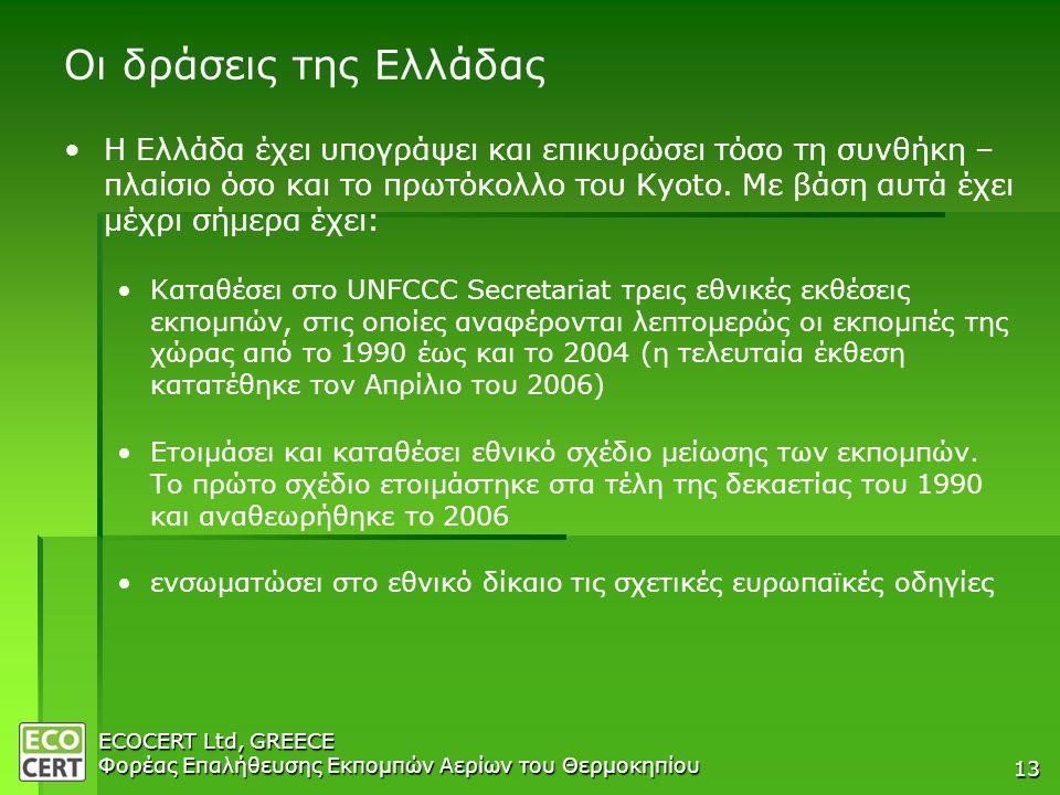 ECOCERT Ltd, GREECE Φορέας Επαλήθευσης Εκπομπών Αερίων του Θερμοκηπίου 13 Οι δράσεις της Ελλάδας • •Η Ελλάδα έχει υπογράψει και επικυρώσει τόσο τη συνθήκη – πλαίσιο όσο και το πρωτόκολλο του Kyoto.
