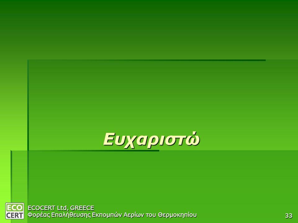 ECOCERT Ltd, GREECE Φορέας Επαλήθευσης Εκπομπών Αερίων του Θερμοκηπίου 33 Ευχαριστώ