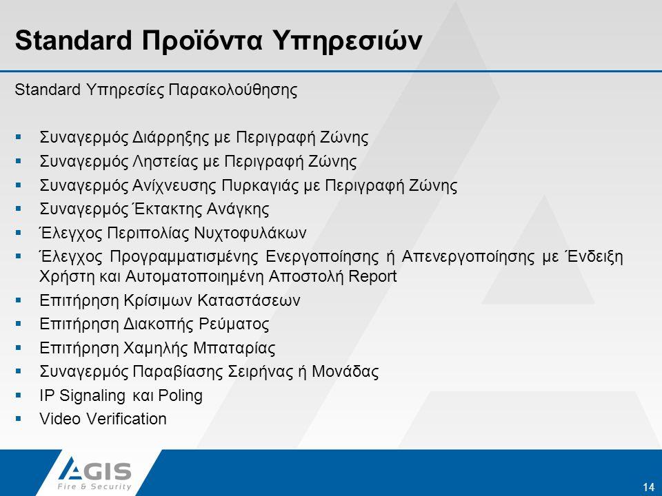 Standard Προϊόντα Υπηρεσιών 14 Standard Υπηρεσίες Παρακολούθησης  Συναγερμός Διάρρηξης με Περιγραφή Ζώνης  Συναγερμός Ληστείας με Περιγραφή Ζώνης 