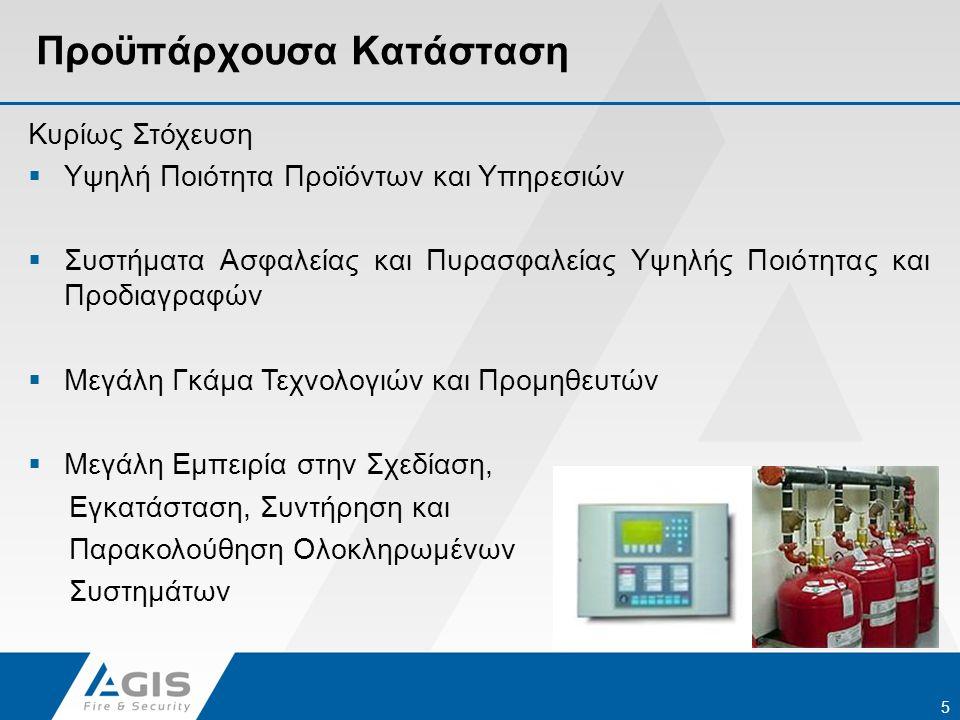 Προϋπάρχουσα Κατάσταση Κυρίως Στόχευση  Υψηλή Ποιότητα Προϊόντων και Υπηρεσιών  Συστήματα Ασφαλείας και Πυρασφαλείας Υψηλής Ποιότητας και Προδιαγραφ