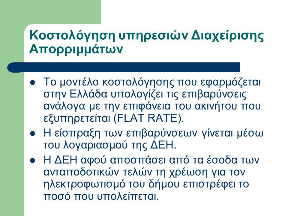 Κοστολόγηση υπηρεσιών Διαχείρισης Απορριμμάτων  Το μοντέλο κοστολόγησης που εφαρμόζεται στην Ελλάδα υπολογίζει τις επιβαρύνσεις ανάλογα με την επιφάν