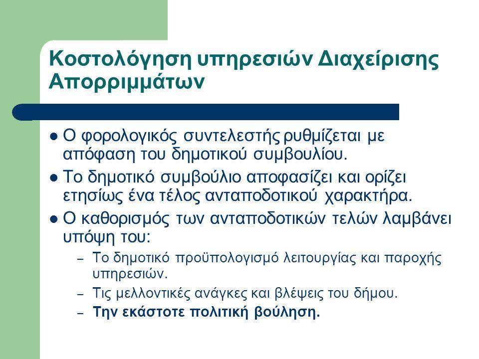 Κοστολόγηση υπηρεσιών Διαχείρισης Απορριμμάτων  Ο φορολογικός συντελεστής ρυθμίζεται με απόφαση του δημοτικού συμβουλίου.  Το δημοτικό συμβούλιο απο