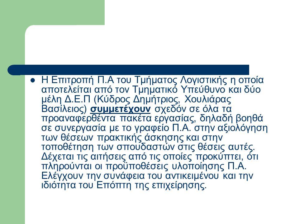  Η Επιτροπή Π.Α του Τμήματος Λογιστικής η οποία αποτελείται από τον Τμηματικό Υπεύθυνο και δύο μέλη Δ.Ε.Π (Κύδρος Δημήτριος, Χουλιάρας Βασίλειος) συμ