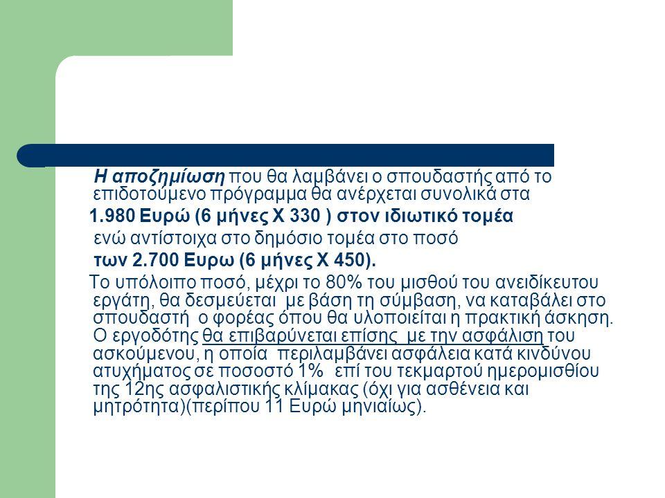 Η αποζημίωση που θα λαμβάνει ο σπουδαστής από το επιδοτούμενο πρόγραμμα θα ανέρχεται συνολικά στα 1.980 Ευρώ (6 μήνες Χ 330 ) στον ιδιωτικό τομέα ενώ αντίστοιχα στο δημόσιο τομέα στο ποσό των 2.700 Ευρω (6 μήνες Χ 450).