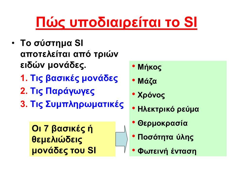 Πώς υποδιαιρείται το SI •Τ•Το σύστημα SI αποτελείται από τριών ειδών μονάδες. 1. Τις βασικές μονάδες 2. Τις Παράγωγες 3. Τις Συμπληρωματικές • Μήκος •