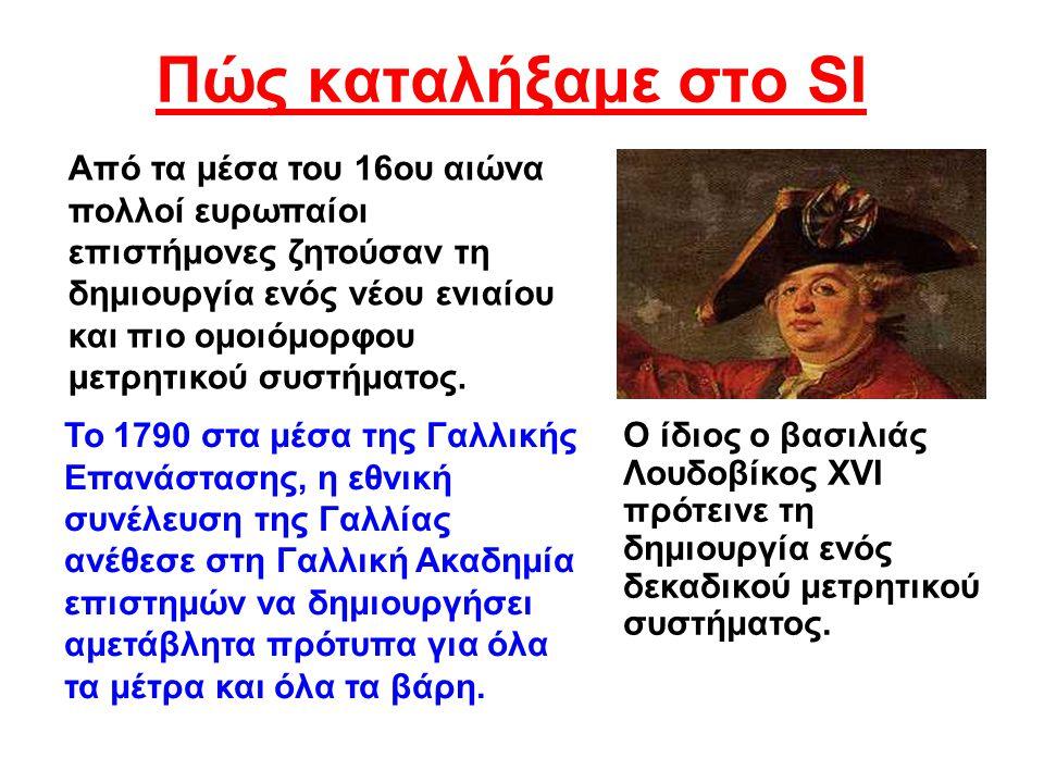 Πώς καταλήξαμε στο SI Ο ίδιος ο βασιλιάς Λουδοβίκος XVI πρότεινε τη δημιουργία ενός δεκαδικού μετρητικού συστήματος. Από τα μέσα του 16ου αιώνα πολλοί