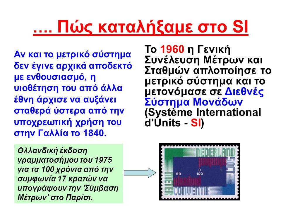 Το SI στην Ελλάδα και Κύπρο •Σ•Στην Ελλάδα η πλήρης καθιέρωση του Μετρικού συστήματος SI έγινε την 1η Απριλίου το 1959, οπότε αντικαταστάθηκε η οκά, από το χιλιόγραμμο (κιλό).