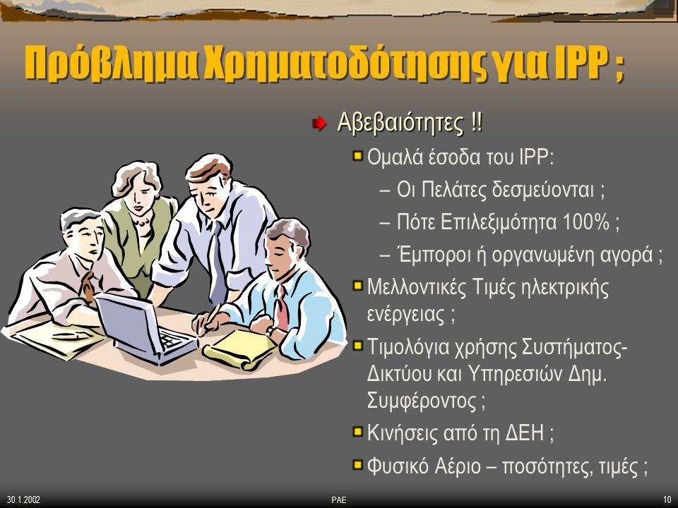 30.1.2002 ΡΑΕ10 Πρόβλημα Χρηματοδότησης για IPP ; Αβεβαιότητες !! Ομαλά έσοδα του IPP: –Οι Πελάτες δεσμεύονται ; –Πότε Επιλεξιμότητα 100% ; –Έμποροι ή