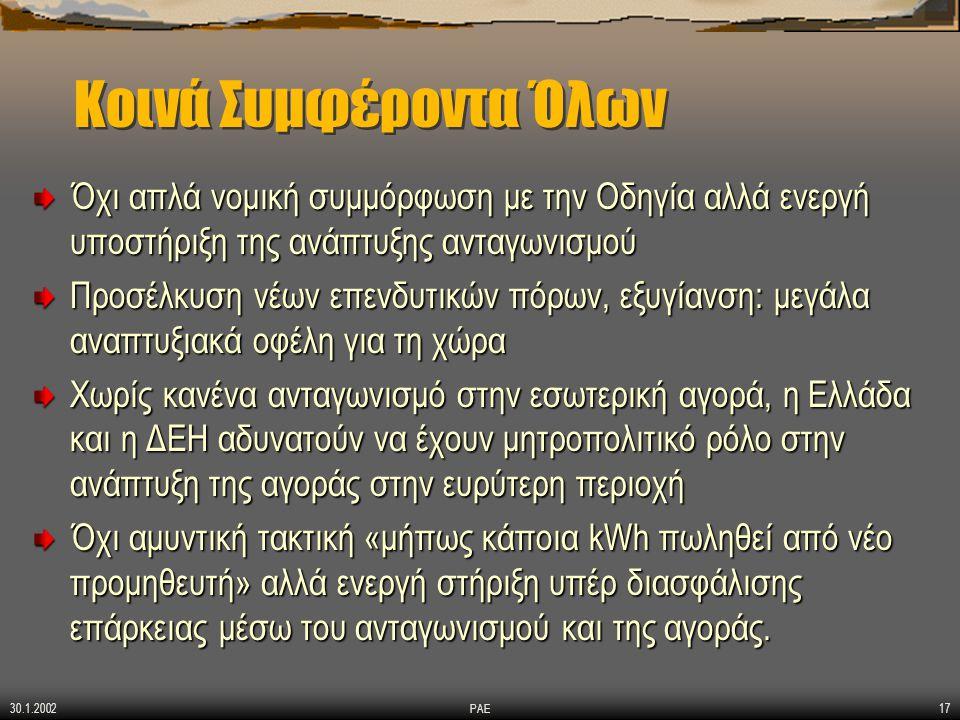 30.1.2002 ΡΑΕ17 Κοινά Συμφέροντα Όλων Όχι απλά νομική συμμόρφωση με την Οδηγία αλλά ενεργή υποστήριξη της ανάπτυξης ανταγωνισμού Προσέλκυση νέων επενδυτικών πόρων, εξυγίανση: μεγάλα αναπτυξιακά οφέλη για τη χώρα Χωρίς κανένα ανταγωνισμό στην εσωτερική αγορά, η Ελλάδα και η ΔΕΗ αδυνατούν να έχουν μητροπολιτικό ρόλο στην ανάπτυξη της αγοράς στην ευρύτερη περιοχή Όχι αμυντική τακτική «μήπως κάποια kWh πωληθεί από νέο προμηθευτή» αλλά ενεργή στήριξη υπέρ διασφάλισης επάρκειας μέσω του ανταγωνισμού και της αγοράς.