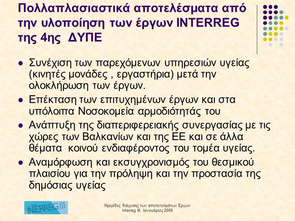 Ημερίδες διάχυσης των αποτελεσμάτων Έργων Interreg III, Ιανουάριος 2008 Πολλαπλασιαστικά αποτελέσματα από την υλοποίηση των έργων INTERREG της 4ης ΔΥΠΕ  Συνέχιση των παρεχόμενων υπηρεσιών υγείας (κινητές μονάδες, εργαστήρια) μετά την ολοκλήρωση των έργων.