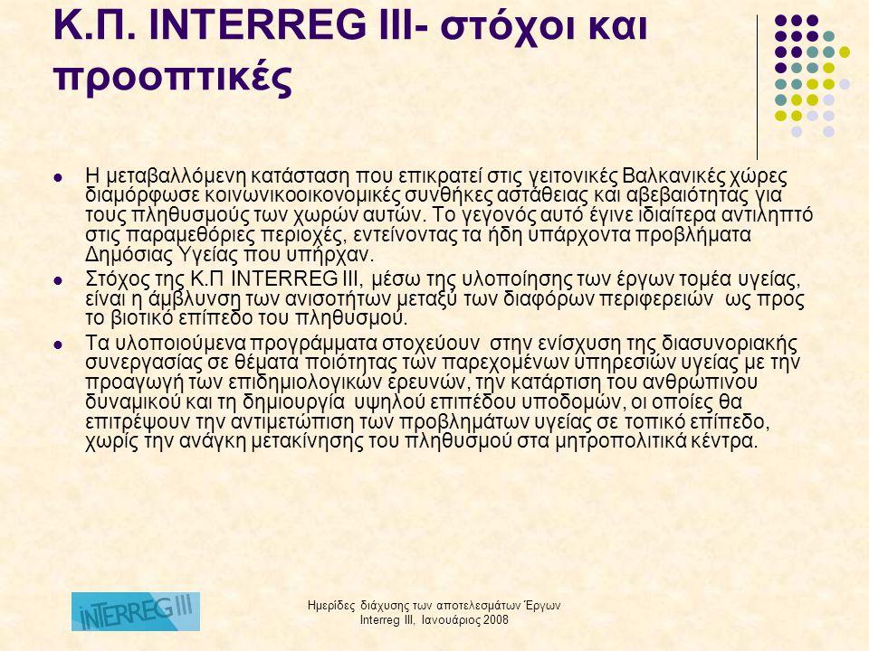 Ημερίδες διάχυσης των αποτελεσμάτων Έργων Interreg III, Ιανουάριος 2008 Προγράμματα διασυνοριακής συνεργασίας 4ης ΔΥΠΕ Μ-Θ, Ιnterreg III  Διασυνοριακή συνεργασία και ανταλλαγή τεχνογνωσίας μεταξύ Ελλάδας-Βουλγαρίας για την ανάπτυξη νέων τεχνολογιών στην πρόληψη, διάγνωση και αντιμετώπιση των λίθων του ουροποιητικού συστήματος  Δημιουργία εργαστηρίου μοριακής βιολογίας για την προστασία της Δημόσιας Υγείας των παραμεθόριων περιοχών Ελλάδας και Νότιας Βουλγαρίας  Διασυνοριακές δράσεις συνεργασίας για την πρόληψη της στοματικής υγείας του πληθυσμού των παραμεθόριων περιοχών Ελλάδας- Βουλγαρίας για την προμήθεια κινητής οδοντιατρικής μονάδας  Τα έργα θα ολοκληρωθούν τον Μάρτιο 2008.