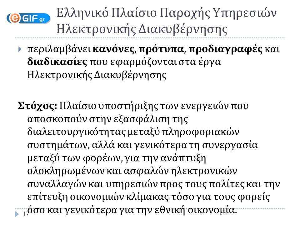 Ελληνικό Πλαίσιο Παροχής Yπηρεσιών Ηλεκτρονικής Διακυβέρνησης  περιλαμβάνει κανόνες, πρότυπα, προδιαγραφές και διαδικασίες που εφαρμόζονται στα έργα Ηλεκτρονικής Διακυβέρνησης Στόχος: Πλαίσιο υποστήριξης των ενεργειών που αποσκοπούν στην εξασφάλιση της διαλειτουργικότητας μεταξύ πληροφοριακών συστημάτων, αλλά και γενικότερα τη συνεργασία μεταξύ των φορέων, για την ανάπτυξη ολοκληρωμένων και ασφαλών ηλεκτρονικών συναλλαγών και υπηρεσιών προς τους πολίτες και την επίτευξη οικονομιών κλίμακας τόσο για τους φορείς όσο και γενικότερα για την εθνική οικονομία.