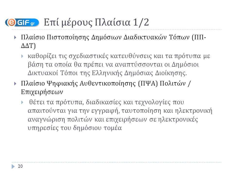 Επί μέρους Πλαίσια 1/2  Πλαίσιο Πιστοποίησης Δημόσιων Διαδικτυακών Τόπων (ΠΠ- ΔΔΤ)  καθορίζει τις σχεδιαστικές κατευθύνσεις και τα πρότυπα με βάση τα οποία θα πρέπει να αναπτύσσονται οι Δημόσιοι Δικτυακοί Τόποι της Ελληνικής Δημόσιας Διοίκησης.