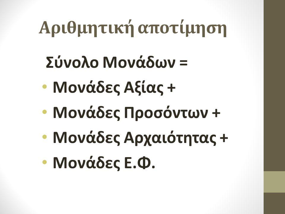 Αριθμητική αποτίμηση Σύνολο Μονάδων = • Μονάδες Αξίας + • Μονάδες Προσόντων + • Μονάδες Αρχαιότητας + • Μονάδες Ε.Φ.