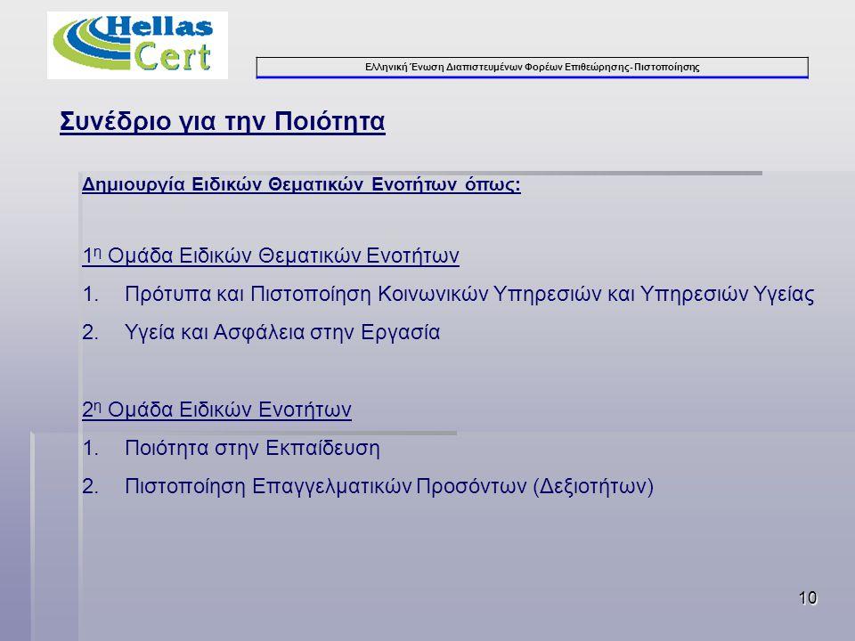 Ελληνική Ένωση Διαπιστευμένων Φορέων Επιθεώρησης- Πιστοποίησης 11 Συνέδριο για την Ποιότητα 3 η Ομάδα Ειδικών Θεματικών Ενοτήτων 1.Εποπτεία της Αγοράς – Προστασία των Καταναλωτών 2.Πιστοποίηση Παραγωγής – Διακίνηση – Χρήσης – Κατανάλωσης Βιομηχανικών Προϊόντων 3.Κανονισμός 765/2008, Οδηγίες, Πρότυπα 4.Εργαστηριακές Δοκιμές και Έλεγχοι Βιομηχανικών Προϊόντων 5.Μετρολογία – Αξιοπιστία των Ελέγχων 4 η Ομάδα Ειδικών Ενοτήτων 1.Πιστοποίηση Τεχνικών Έργων και Κατασκευαστών 2.Διαχείριση Ποιότητας στα Δημόσια Έργα 3.Διαχείριση ΕΣΠΑ