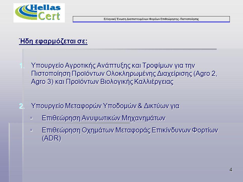 Ελληνική Ένωση Διαπιστευμένων Φορέων Επιθεώρησης- Πιστοποίησης 4 Ήδη εφαρμόζεται σε: 1.Υπουργείο Αγροτικής Ανάπτυξης και Τροφίμων για την Πιστοποίηση Προϊόντων Ολοκληρωμένης Διαχείρισης (Agro 2, Agro 3) και Προϊόντων Βιολογικής Καλλιέργειας 2.Υπουργείο Μεταφορών Υποδομών & Δικτύων για  Επιθεώρηση Ανυψωτικών Μηχανημάτων  Επιθεώρηση Οχημάτων Μεταφοράς Επικίνδυνων Φορτίων (ADR)
