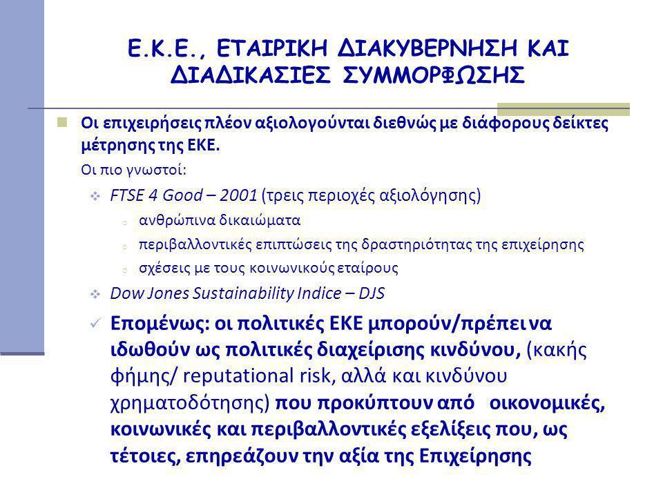 Ε.Κ.Ε., ΕΤΑΙΡΙΚΗ ΔΙΑΚΥΒΕΡΝΗΣΗ ΚΑΙ ΔΙΑΔΙΚΑΣΙΕΣ ΣΥΜΜΟΡΦΩΣΗΣ  Οι επιχειρήσεις πλέον αξιολογούνται διεθνώς με διάφορους δείκτες μέτρησης της ΕΚΕ.
