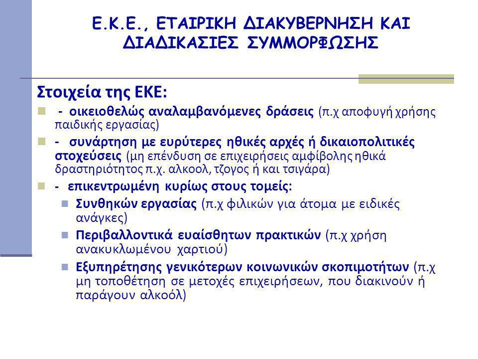 Ε.Κ.Ε., ΕΤΑΙΡΙΚΗ ΔΙΑΚΥΒΕΡΝΗΣΗ ΚΑΙ ΔΙΑΔΙΚΑΣΙΕΣ ΣΥΜΜΟΡΦΩΣΗΣ Στοιχεία της ΕΚΕ:  - οικειοθελώς αναλαμβανόμενες δράσεις (π.χ αποφυγή χρήσης παιδικής εργασίας)  - συνάρτηση με ευρύτερες ηθικές αρχές ή δικαιοπολιτικές στοχεύσεις (μη επένδυση σε επιχειρήσεις αμφίβολης ηθικά δραστηριότητος π.χ.