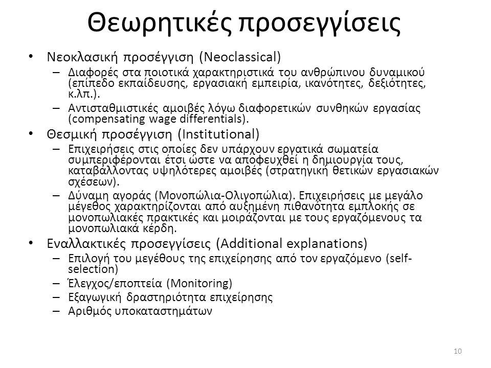 Θεωρητικές προσεγγίσεις • Νεοκλασική προσέγγιση (Neoclassical) – Διαφορές στα ποιοτικά χαρακτηριστικά του ανθρώπινου δυναμικού (επίπεδο εκπαίδευσης, ε