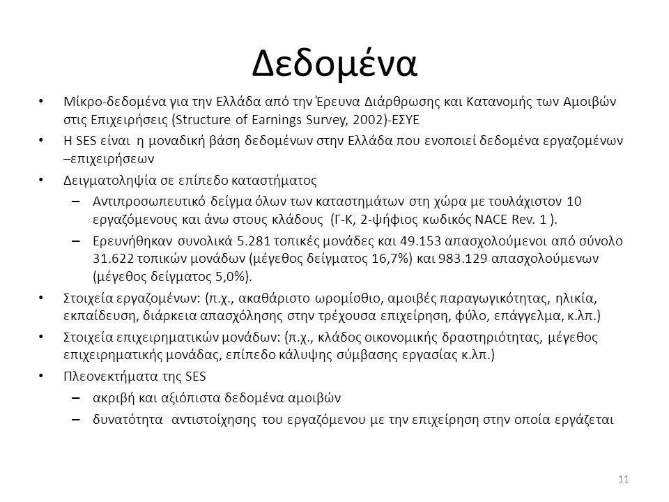 Δεδομένα • Μίκρο-δεδομένα για την Ελλάδα από την Έρευνα Διάρθρωσης και Κατανομής των Αμοιβών στις Επιχειρήσεις (Structure of Earnings Survey, 2002)-ΕΣ