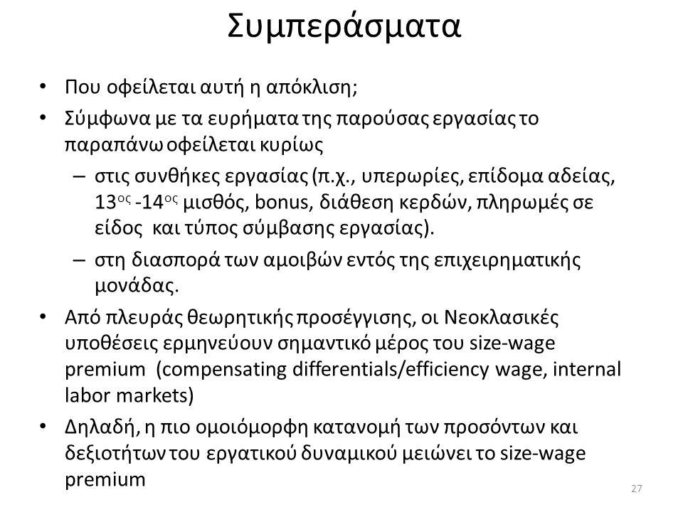 Συμπεράσματα • Που οφείλεται αυτή η απόκλιση; • Σύμφωνα με τα ευρήματα της παρούσας εργασίας το παραπάνω οφείλεται κυρίως – στις συνθήκες εργασίας (π.
