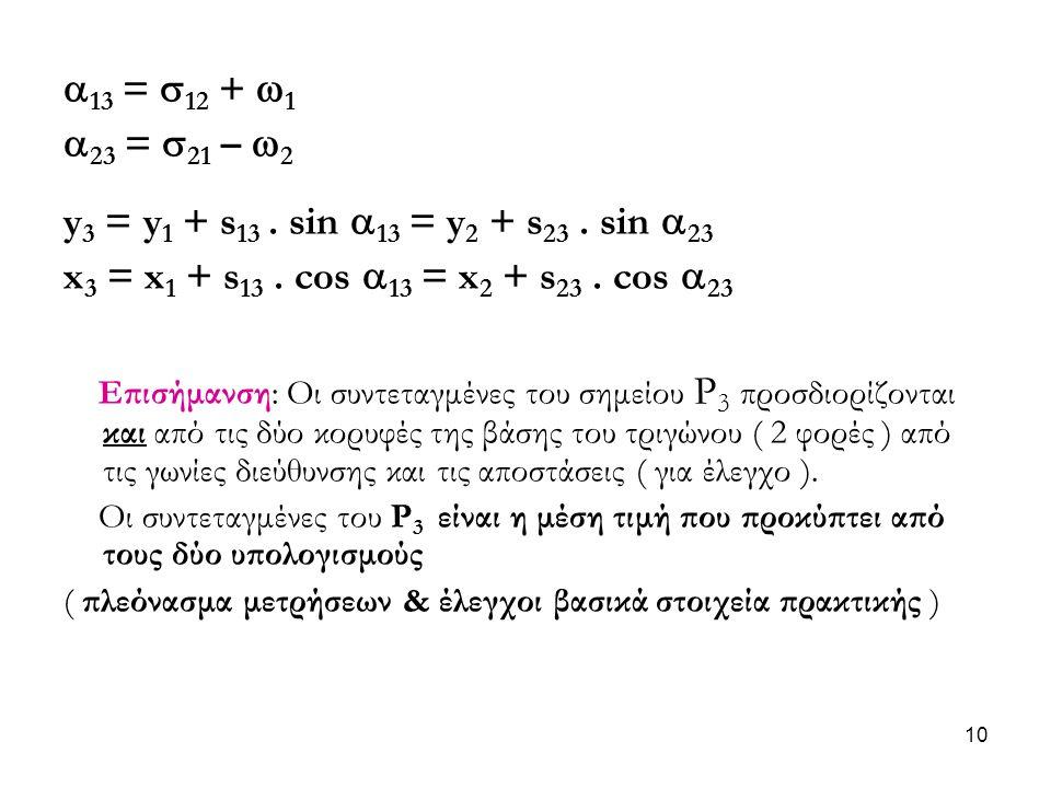  13 =  12 +  1  23 =  21 –  2 y 3 = y 1 + s 13. sin  13 = y 2 + s 23. sin  23 x 3 = x 1 + s 13. cos  13 = x 2 + s 23. cos  23 Επισήμανση: Οι
