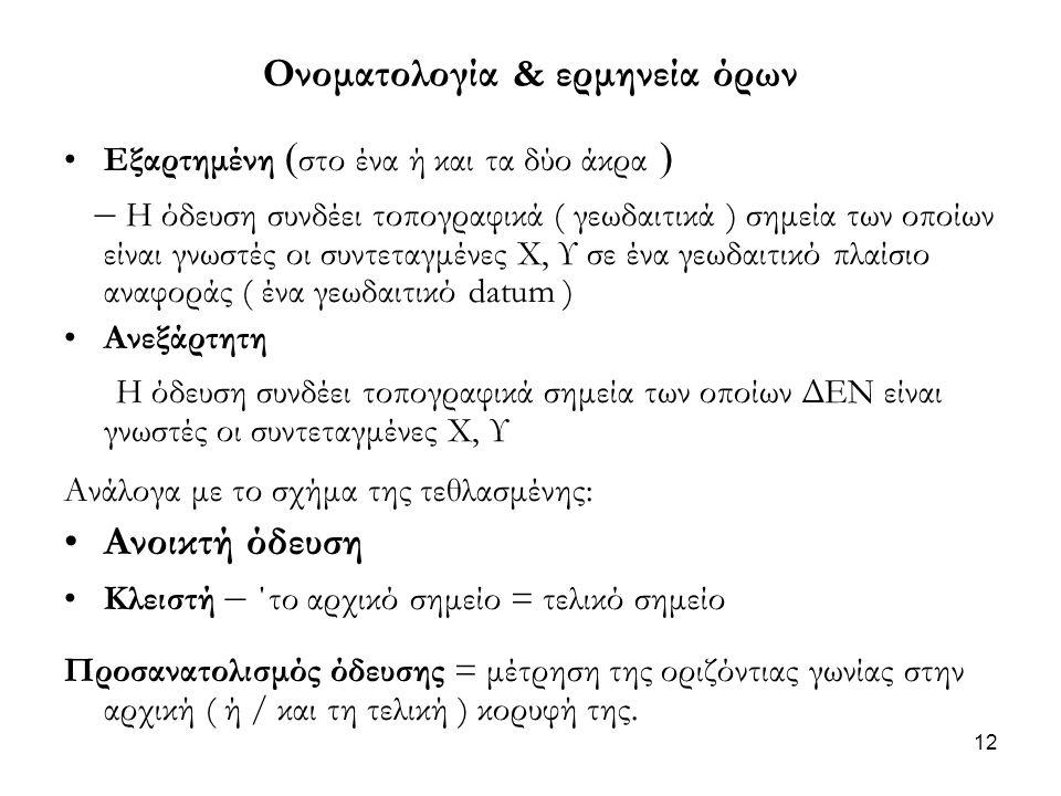 Ονοματολογία & ερμηνεία όρων •Εξαρτημένη ( στο ένα ή και τα δύο άκρα ) – Η όδευση συνδέει τοπογραφικά ( γεωδαιτικά ) σημεία των οποίων είναι γνωστές ο