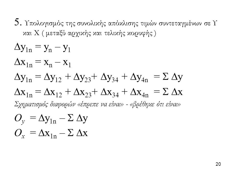 5. Υπολογισμός της συνολικής απόκλισης τιμών συντεταγμένων σε Υ και Χ ( μεταξύ αρχικής και τελικής κορυφής )  y 1n = y n – y 1  x 1n = x n – x 1  y