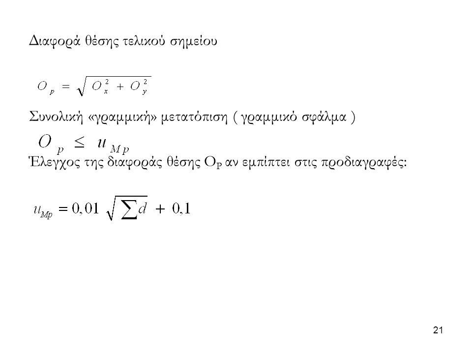 Διαφορά θέσης τελικού σημείου Συνολική «γραμμική» μετατόπιση ( γραμμικό σφάλμα ) Έλεγχος της διαφοράς θέσης Ο Ρ αν εμπίπτει στις προδιαγραφές: 21