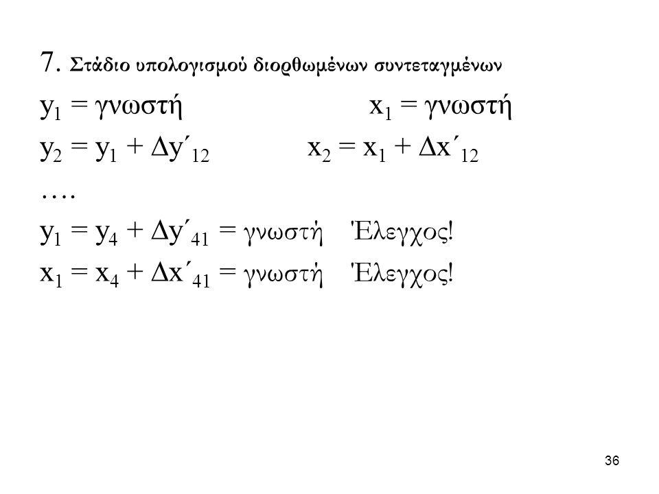 7. Στάδιο υπολογισμού διορθωμένων συντεταγμένων y 1 = γνωστή x 1 = γνωστή y 2 = y 1 +  y´ 12 x 2 = x 1 +  x´ 12 …. y 1 = y 4 +  y´ 41 = γνωστή Έλεγ